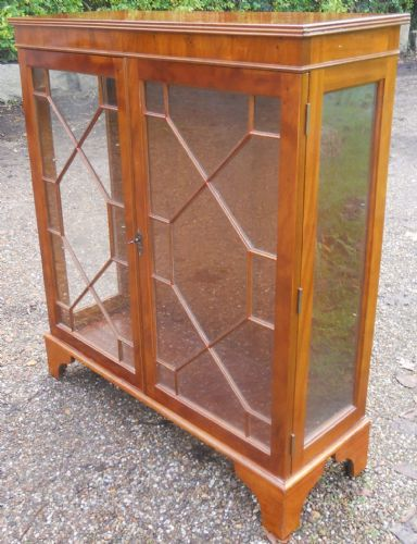Two Door Walnut China Display Cabinet